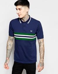 Приталенная футболка-поло с полосой на груди Fred Perry - Темно-синий