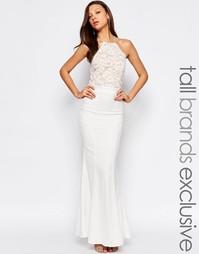 Кружевное платье‑халтер макси Jarlo Tall - Белый