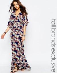 Платье макси с запахом и рукавами-кимоно Glamorous Tall - Мульти