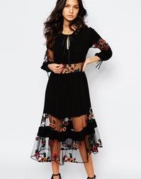 Платье миди с цветочной вышивкой For Love and Lemons Eva - Черный
