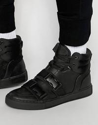 Высокие черные кроссовки с ремешками и пряжками Dark Future - Черный