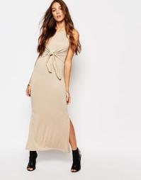 Платье-майка макси с завязкой спереди Daisy Street - Телесный