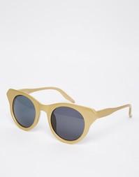 Солнцезащитные очки кошачий глаз в золотистой оправе AJ Morgan