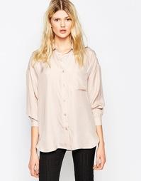 Шелковистая розовая рубашка Ganni Seersucker - Розовая дымка