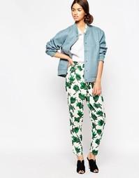 Зелено-белые брюки с принтом Ganni San Pedro - Можжевельник