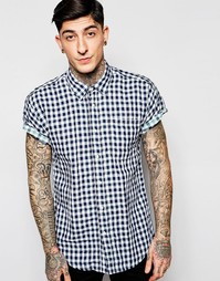 Рубашка в клетку с короткими рукавами Scotch & Soda - Синий