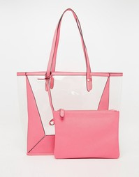 Прозрачная пляжная сумка со съемным клатчем ASOS - Розовый