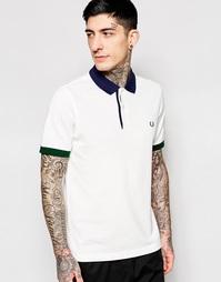 Приталенная футболка-поло с контрастным воротничком Fred Perry - Белый