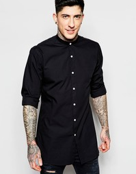 Удлиненная черная рубашка из хлопка с воротником на пуговице Lindbergh