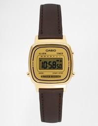 Цифровые часы с кожаным ремешком Casio LA670WEGL-9EF - Коричневый