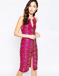 Платье миди с камнями Virgo's Lounge Adrianna - Розовый
