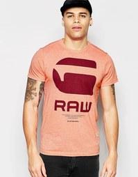 Красная меланжевая футболка с круглым вырезом и принтом логотипа G-Sta