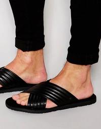 Кожаные сандалии Base London Commodus - Черный