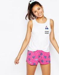 Пижама с шортами и майкой с принтом Pocket Rocket ASOS - Мульти