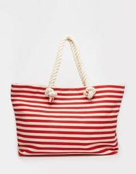 Холщовая пляжная сумка с полосками и ручками из веревки Buji Baja
