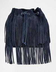 Замшевая сумка дафл с бахромой Faith - Темно-синий