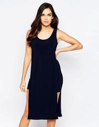 Платье с накидкой и разрезами Love - Темно-синий