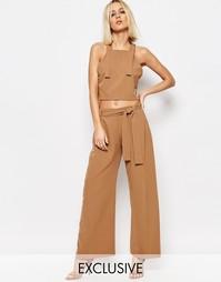 Свободные укороченные брюки с поясом House of Sunny Paper - Рыжий