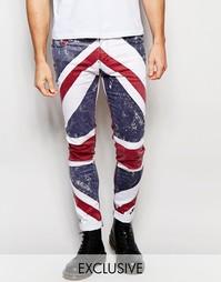 Супероблегающие джинсы с принтом британского флага эксклюзивно для Rel Religion