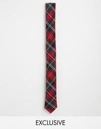 Узкий галстук в клетку Reclaimed Vintage - Красный