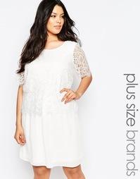 Свободное платье с кружевным верхним слоем Junarose - Белый
