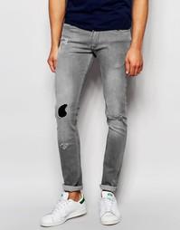 Серые джинсы скинни с заплаткой Kubban - Серый