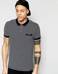 Трикотажная футболка поло с жаккардовыми полосками D-Struct