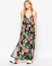 Платье макси с тропическим принтом Liquorish - Мульти