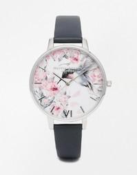 Серебристые часы с акварельным принтом Olivia Burton - Серый