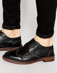 Кожаные туфли-дерби с заклепками Walk London Darcy - Черный