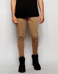 Светло-коричневые супероблегающие штаны для бега ASOS