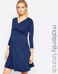 Платье для кормящих с запахом спереди и завязкой на талии Isabella Oli
