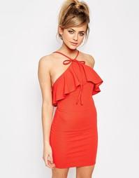 Облегающее платье с оборкой Oh My Love - Красный