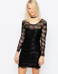 Облегающее кружевное платье Religion Genius - Jet black