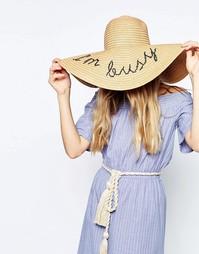 Широкополая соломенная шляпа в стиле оversize с принтом I'm Busy ASOS