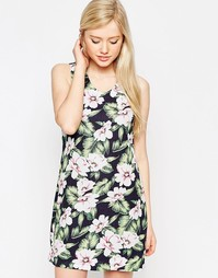 Платье с тропическим цветочным принтом Style London - Синий
