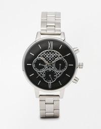 Серебристые часы с крупным циферблатом и хронографом Olivia Burton