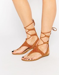 Светло-коричневые замшевые сандалии с шнуровкой Kendall & Kylie Faris