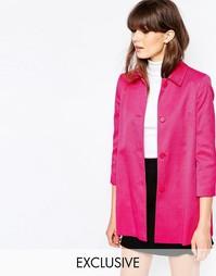 Короткое розовое пальто А-образного силуэта Helene Berman