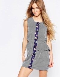 Платье с баской и комбинированным принтом в полоску и цветочек Liquori Liquorish