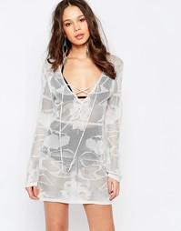 Платье кроше со шнуровкой Melissa Odabash - Серебряный