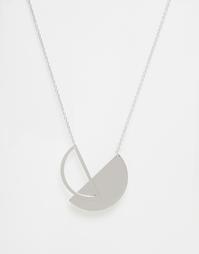 Ожерелье с круглой подвеской Monki - Серебряный