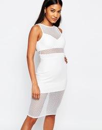 Облегающее платье с сетчатыми вставками Boohoo - Слоновая кость