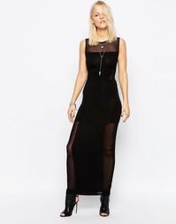 Платье макси с сетчатыми вставками Religion Satisfy - Jet black