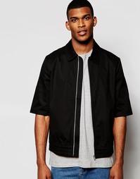 Легкая черная куртка Харрингтон с рукавами 3/4 ASOS - Черный