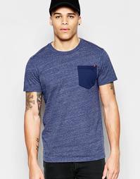 Синяя меланжевая футболка с круглым вырезом G-Star Riban