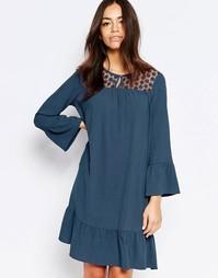 Цельнокройное платье с кружевной кокеткой Esprit - Серо-синий