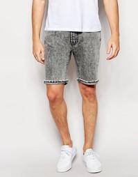 Прямые джинсовые шорты с необработанным краем Waven - Mottled black
