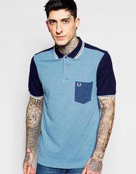 Приталенная футболка-поло колор блок Fred Perry - Синий меланж
