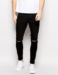 Стретчевые супероблегающие джинсы с рваной отделкой Selected Homme